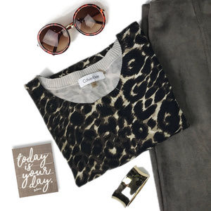 Calvin Klein Leopard Print Cap Sleeve Sweater